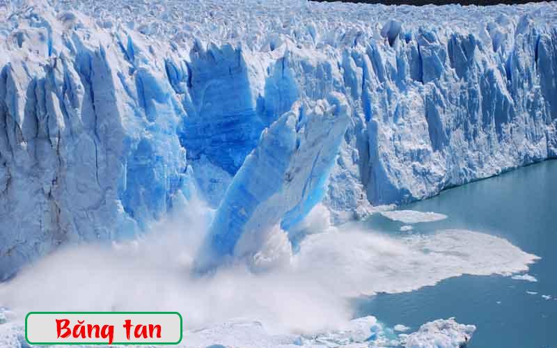 Băng đang tan chảy ở 2 cực do ảnh hưởng của hiệu ứng nhà kính làm mực nước biển dâng cao
